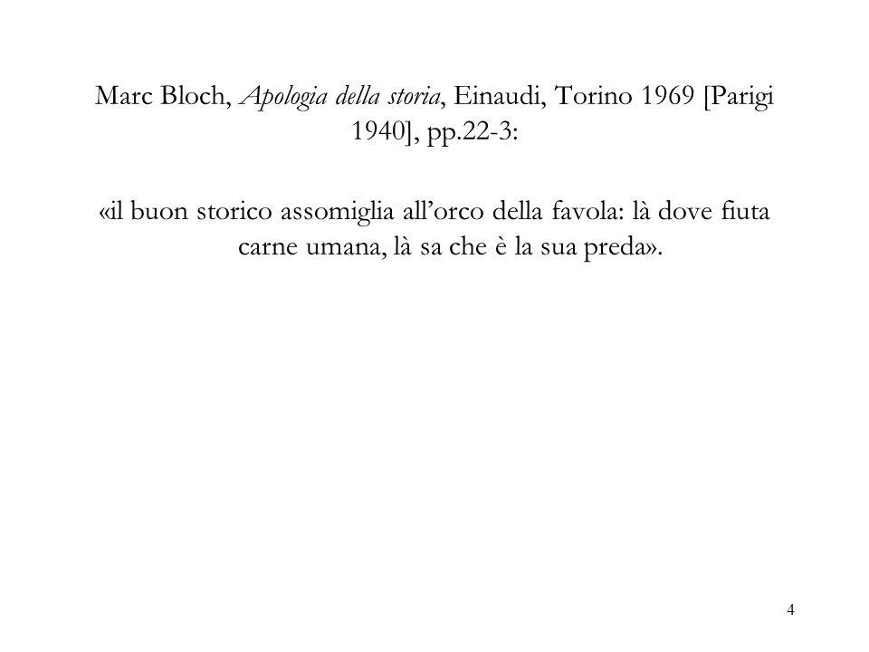Marc Bloch, Apologia della storia, Einaudi, Torino 1969 [Parigi 1940], pp.22-3: